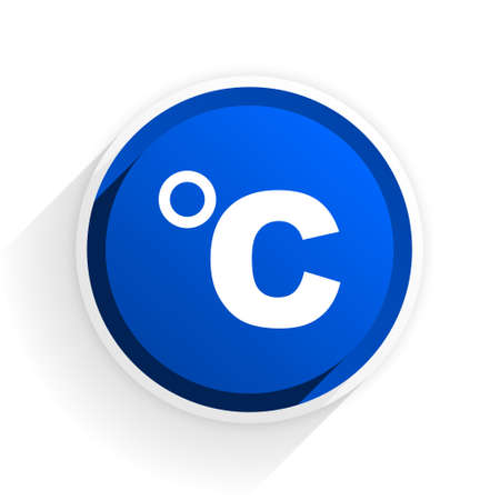 celcius: celsius flat icon with shadow on white background, blue modern design web element