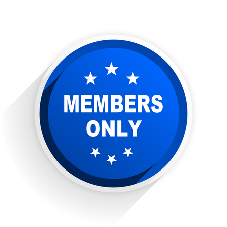 private club: members only flat icon with shadow on white background, blue modern design web element