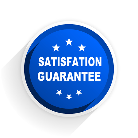 satisfaction guarantee: satisfaction guarantee flat icon with shadow on white background, blue modern design web element Stock Photo