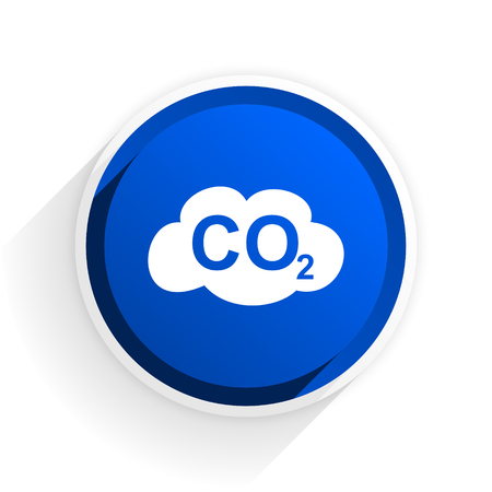 dioxido de carbono: carbon dioxide flat icon with shadow on white background, blue modern design web element