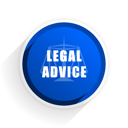 criminal act: legal advice flat icon with shadow on white background, blue modern design web element