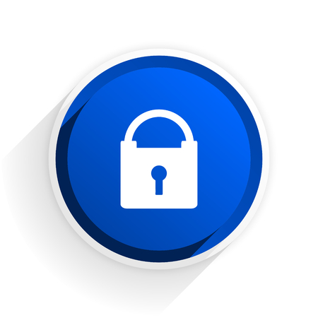 trusty: padlock flat icon with shadow on white background, blue modern design web element