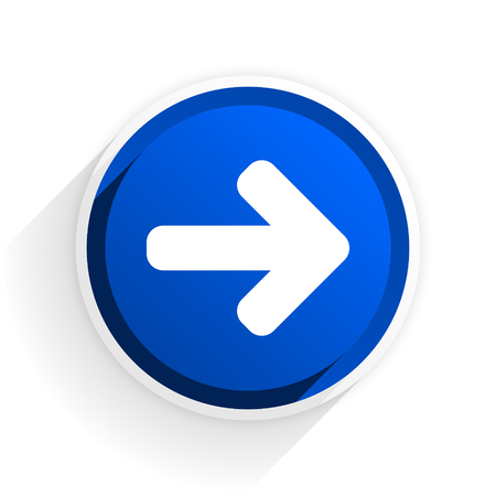 navigation panel: right arrow flat icon with shadow on white background, blue modern design web element