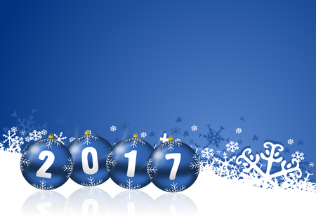 in years: 2017 new years illustration with christmas balls and snowflakes on blue background