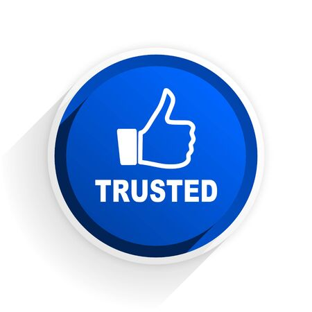 trusted: trusted flat icon with shadow on white background, blue modern design web element Stock Photo