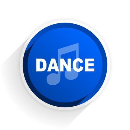 listen live stream: dance music flat icon with shadow on white background, blue modern design web element