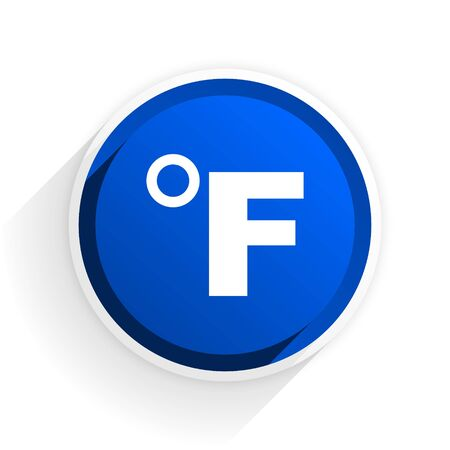 fahrenheit: fahrenheit flat icon with shadow on white background, blue modern design web element