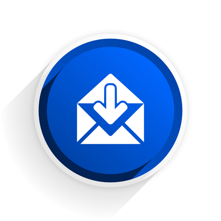 secretariat: email flat icon with shadow on white background, blue modern design web element