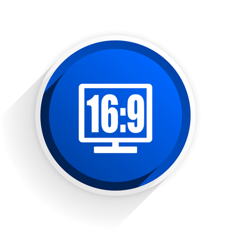 programm: 16 9 display flat icon with shadow on white background, blue modern design web element