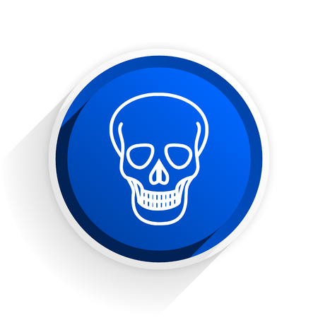 pirating: skull flat icon with shadow on white background, blue modern design web element