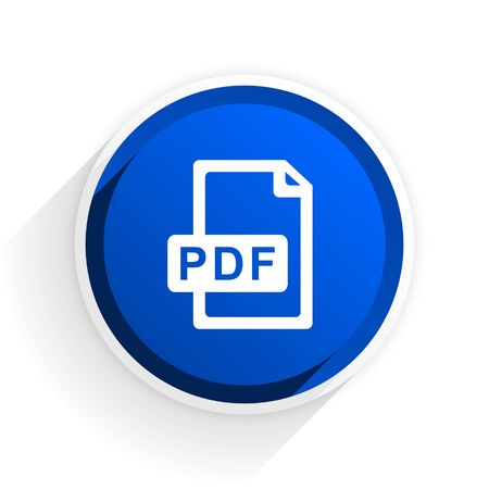bibliography: pdf file flat icon with shadow on white background, blue modern design web element