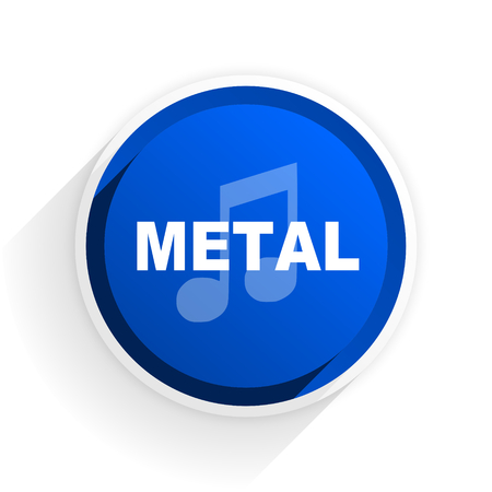 metal music: metal music flat icon with shadow on white background, blue modern design web element