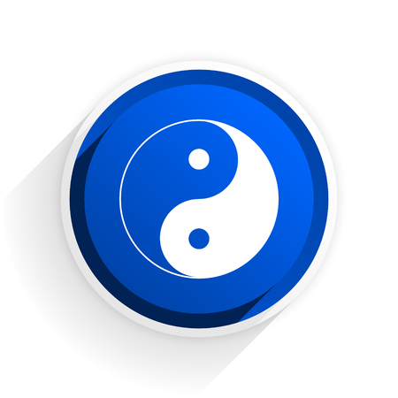 ying yang: ying yang flat icon with shadow on white background, blue modern design web element Stock Photo