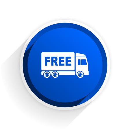 d�livrance: free delivery flat icon with shadow on white background, blue modern design web element