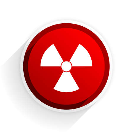 nuclear safety: radiation flat icon with shadow on white background, red modern design web element