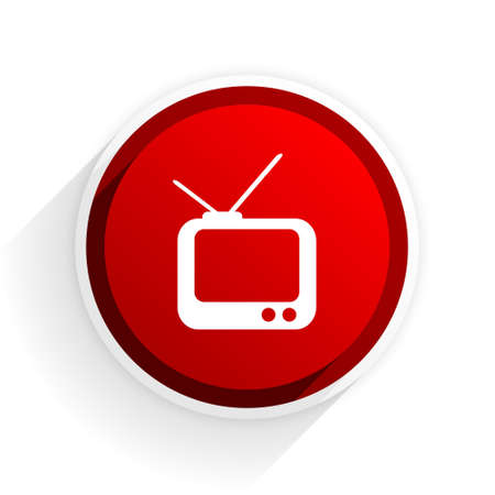 programm: tv flat icon with shadow on white background, red modern design web element