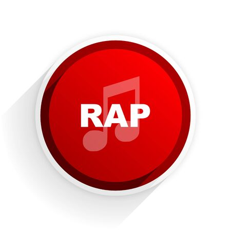 rap music: rap music flat icon with shadow on white background, red modern design web element