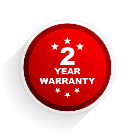 web 2: warranty guarantee 2 year flat icon with shadow on white background, red modern design web element