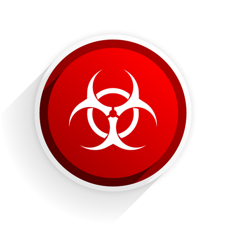 bacterioa: biohazard flat icon with shadow on white background, red modern design web element