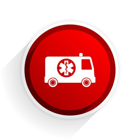 rescue circle: ambulance flat icon with shadow on white background, red modern design web element Stock Photo