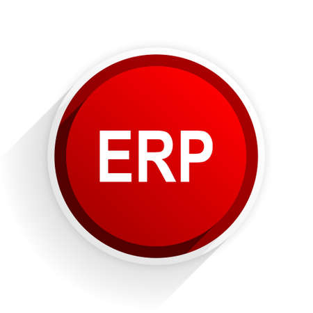 erp: erp flat icon with shadow on white background, red modern design web element Stock Photo