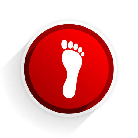 orthopedics: foot flat icon with shadow on white background, red modern design web element Stock Photo