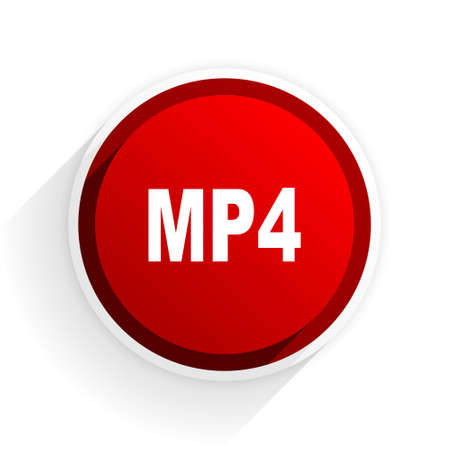 mp4: mp4 flat icon with shadow on white background, red modern design web element Stock Photo