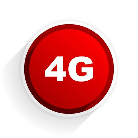 4g: 4g flat icon with shadow on white background, red modern design web element