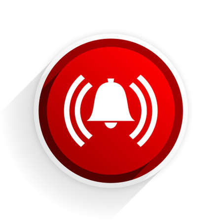 alerts: alarm flat icon with shadow on white background, red modern design web element