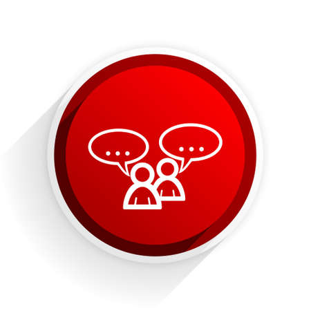 chat icon: forum flat icon with shadow on white background, red modern design web element Stock Photo