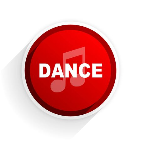 dance shadow: dance music flat icon with shadow on white background, red modern design web element Stock Photo