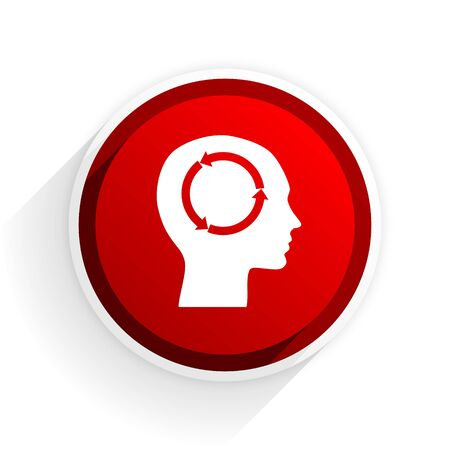 brainy: head flat icon with shadow on white background, red modern design web element