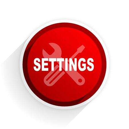customization: settings flat icon with shadow on white background, red modern design web element