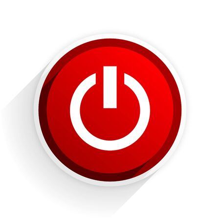run off: power flat icon with shadow on white background, red modern design web element Stock Photo