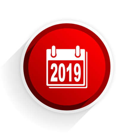 agenda year planner: new year 2019 flat icon with shadow on white background, red modern design web element