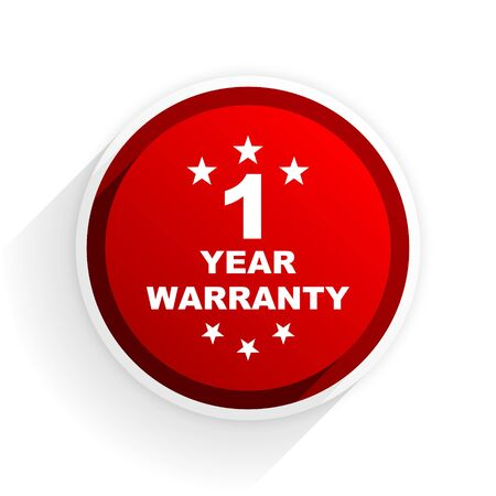 one year warranty: warranty guarantee 1 year flat icon with shadow on white background, red modern design web element
