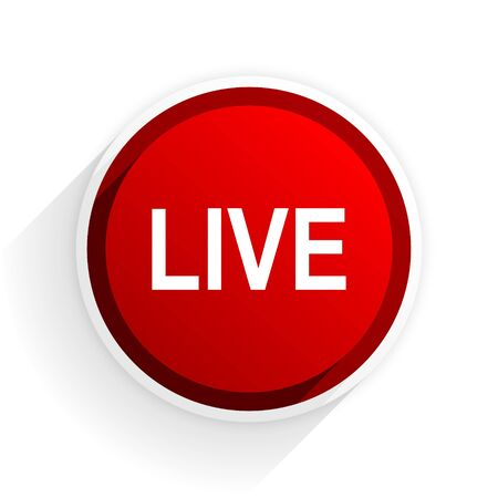 live stream radio: live flat icon with shadow on white background, red modern design web element