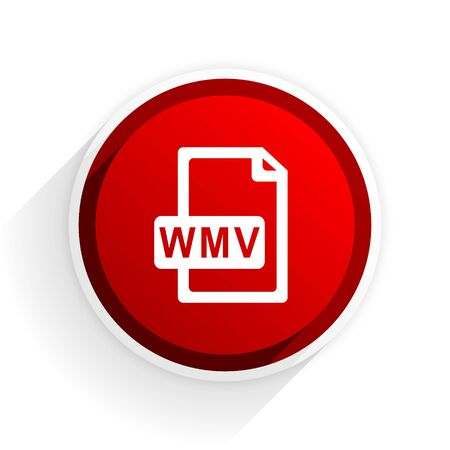 wmv: wmv file flat icon with shadow on white background, red modern design web element