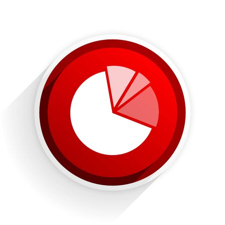 statistics icon: diagram flat icon with shadow on white background, red modern design web element Stock Photo