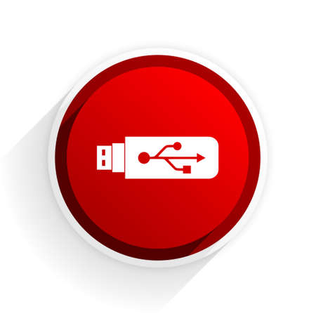 usb pendrive: usb flat icon with shadow on white background, red modern design web element