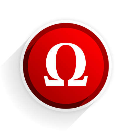antioxidant: omega flat icon with shadow on white background, red modern design web element