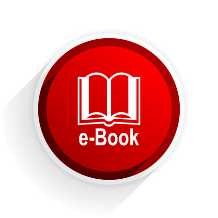 reading app: book flat icon with shadow on white background, red modern design web element