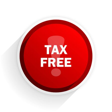 duties: tax free flat icon with shadow on white background, red modern design web element Stock Photo