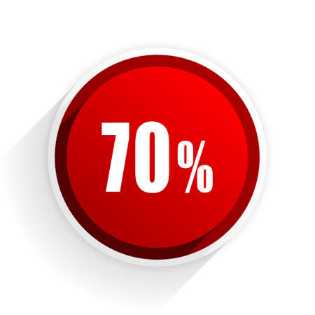 bargaining: 70 percent flat icon with shadow on white background, red modern design web element