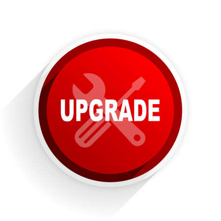 refreshed: upgrade flat icon with shadow on white background, red modern design web element