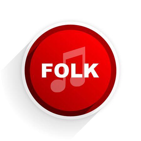 folk music: folk music flat icon with shadow on white background, red modern design web element