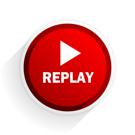 proceed: replay flat icon with shadow on white background, red modern design web element Stock Photo