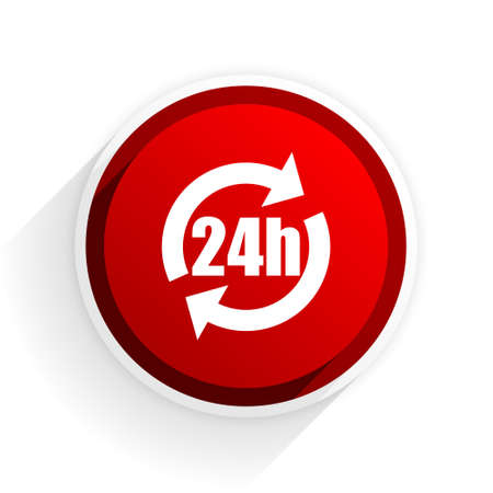 24h: 24h flat icon with shadow on white background, red modern design web element