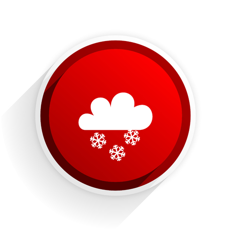 forecasting: snowing flat icon with shadow on white background, red modern design web element Stock Photo