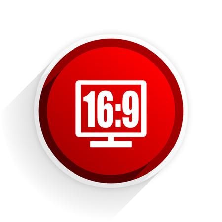 16 9 display: 16 9 display flat icon with shadow on white background, red modern design web element
